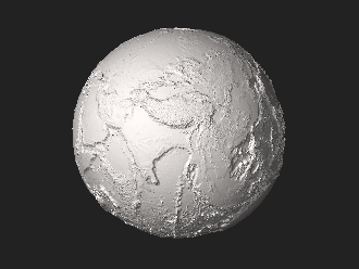 "Current Earth without water, elevation greatly exaggerated (click/enlarge to ""spin"" 3D-globe). Earth dry elevation.stl"