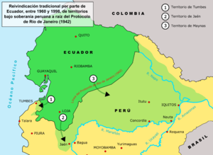 History of the Ecuadorian–Peruvian territorial dispute - Image: Ecuador peru land claims 01