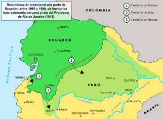 Military history of Ecuador - Image: Ecuador peru land claims 01