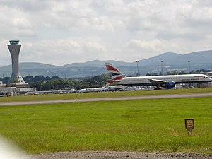 Transport in Edinburgh - Edinburgh Airport main runway and air traffic control tower.