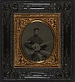 Edwin Chamberlain of Company G, 11th New Hampshire Infantry Regiment in sergeant's uniform with guitar LOC 5228644727.jpg
