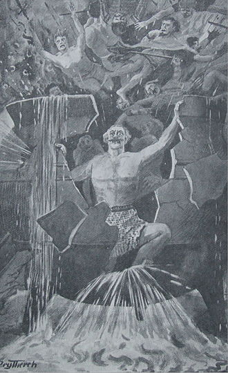 Welsh mythology - Efnysien's self-sacrifice (image by T. Prytherch)