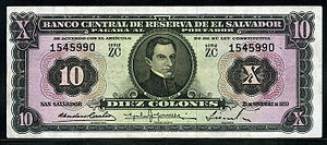 Salvadoran colón - El Salvador 10 Colones banknote of 1959.