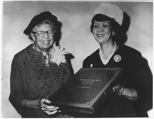 Eleanor Roosevelt receiving the Mary McLeod Bethune Human Rights Award from Dorothy Height, president of the National... - NARA - 196283