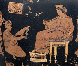 Demeter and Metanira in a detail on an Apulian red-figure hydria, circa 340 BC (Altes Museum, Berlin). Eleusinian hydria Antikensammlung Berlin 1984.46 n2.jpg