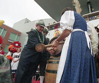 Kitchener–Waterloo Oktoberfest - Elizabeth Witmer MPP taps keg to open Oktoberfest (October 11, 1996)