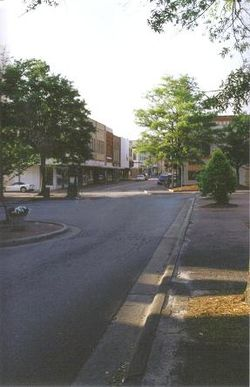 "A view down Elm Street in Lumberton from  ""the square"""
