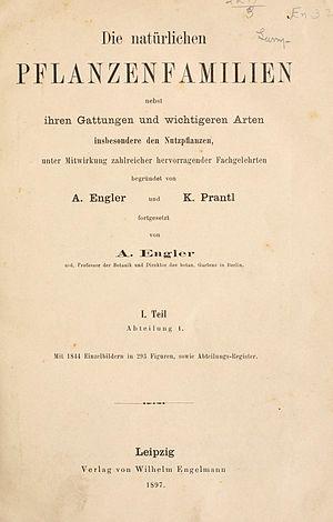 Die Natürlichen Pflanzenfamilien - Cover page of first part of first edition