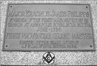 Erasmus James Philipps - Erasmus James Philipps plaque, Annapolis Royal, Nova Scotia
