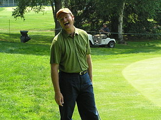 Ernie Els - Els shares a laugh during the practice round for the 2004 Buick Classic