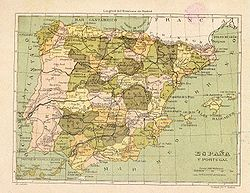 The Kingdom of Spain in 1850.