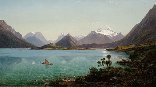 Eugène von Guérard - Lake Wakatipu with Mount Earnslaw, Middle Island, New Zealand - Google Art Project