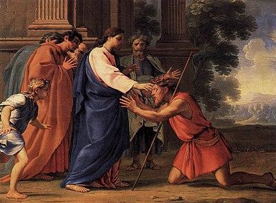 Imagem de Jesus curando o cego Bartimeu em Jericó