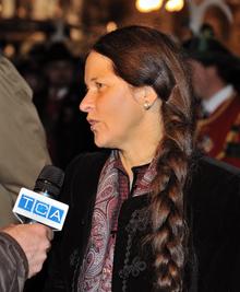 Eva Klotz durante la manifestazione degli Schützen a Bolzano l'8 novembre 2008.
