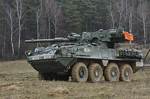 M1128 Mobile Gun System - A M1128 Mobile Gun System during a training exercise in 2015
