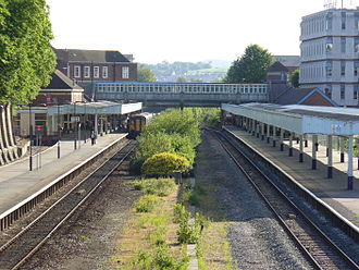 Exeter Central railway station - View looking eastward with platform 3 on the right