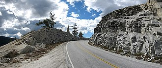 Exfoliation joint - Exfoliation joints exposed in a road cut in Yosemite National Park, California.