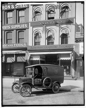 Underwood Typewriter Company - Exterior of the Underwood Typewriter Company with vehicle outside, circa 1905-45
