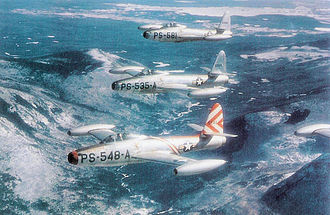 Tactical Air Command - Republic F-84B-21-RE Thunderjets of the 14th Fighter Group, Dow AFB, Maine, 1948. Visible AF serial numbers are 46–0548, 46–0535 and 46-0581.