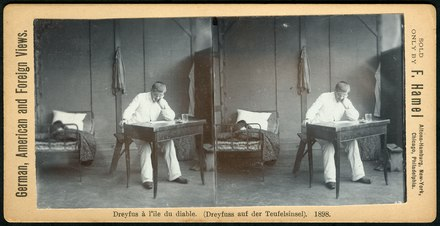 Alfred Dreyfus in his room on Devil's Island in 1898, stereoscopy sold by F. Hamel, Altona-Hamburg...; collection Fritz Lachmund F. Hamel Stereoskopie Altona-Hamburg 1898 Dreyfuss auf der Teufelsinsel, Bildseite.tif