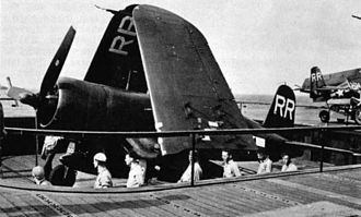 Carrier air wing - A VBF-88 Goodyear FG-1D Corsair showing the letter code introduced in July 1945.