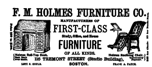 Levi S. Gould - F. M. Holmes Furniture Company advertisement from the March 1886 issue of the Atlantic Monthly.