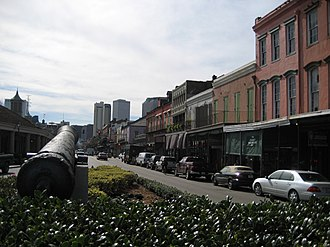 Decatur Street (New Orleans) - Looking up Decatur Street from the Joan of Arc monument