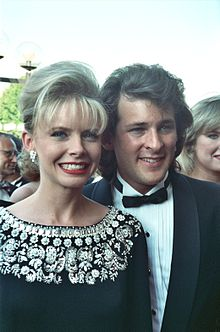 Ford with her former husband Robert Nottingham at 1990 Emmy Awards