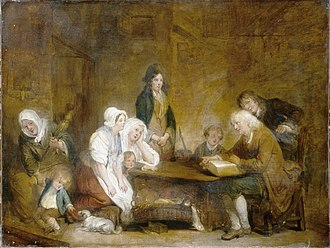 Family worship - Family Worship, painting by Jean-Baptiste Greuze