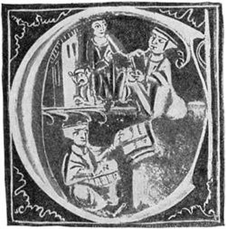 Faraj ben Salim - Charles of Anjou giving an Arabic manuscript to Faraj for translation, from a medieval illumination.