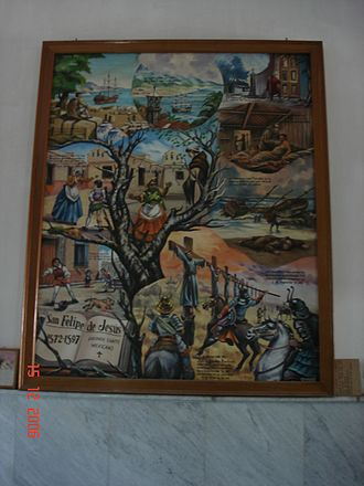 Basilica of Our Lady of Zapopan - Painting of the life of San Felipe de Jesús in the church.