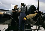 Female mechanics work on R-1830 of PBY at NAS Corpus Christi 1942.jpg