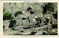 File-Iron Spring at Gulpha Gorge; shows people on rocks, board across part of creek-White border around image; black printed caption (45b38e36-565f-4b39-ab16-bbcecc2064ba).jpg