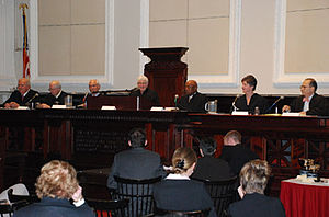 National Moot Court Competition -  Judges of the 2008 competition during final arguments, from left to right: Mikel L. Stout; The Honorable Richard Andrias; The Honorable Julio M. Fuentes; Honorable Deanell Reece Tacha; The Honorable Theodore T. Jones, Jr.; The Honorable Roslynn Mauskopf; Barry M. Kamins