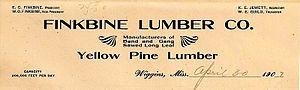 Finkbine-Guild Lumber Company - Finkbine Lumber Company letterhead (1907)