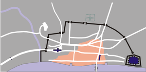 Approximate damage by the evening of Monday, 3 September.