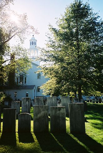First Congregational Church of Bennington - View from cemetery in rear.