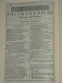Faksimiler af første side i The Tragedie of Anthonie, and Cleopatra fra First Folio, publiceret i 1623