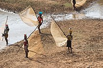 Fisher women on River Niger in Guinea, Africa