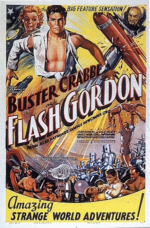"Flash Gordon (serial) - Rare poster for 1936 feature version of the serial (note tagline), reissued as ""Rocketship"" in 1949."