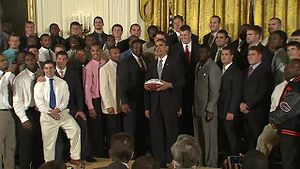 2008 Florida Gators football team - The Florida Gators meet with President Barack Obama in April 2009 after winning the national championship.