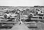 Focke Wulf Fw 190 fighters awaiting disposal at Flensburg airfield in Germany, 2 August 1945. CL3307.jpg