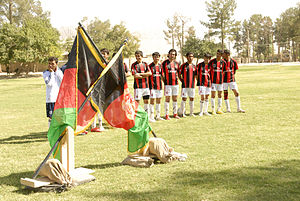 Football in Afghanistan - Local football players at a public park in Kandahar.