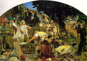 Hampstead - Roadworks on Heath Street in Hampstead around 1865, in Ford Madox Brown's painting Work