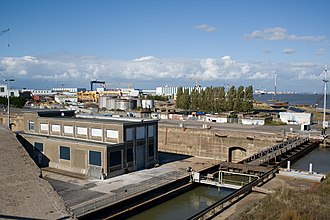 Louis Joubert Lock - The Loire River side lock gates of the Louis Joubert Lock, the target of the St. Nazaire Raid