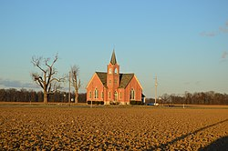 Fields and the former Grace United Methodist Church