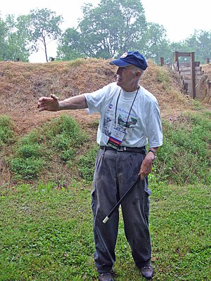 Fort Pillow State Park - Civil War historian Ed Bearss at the fortifications of Fort Pillow in 2006.