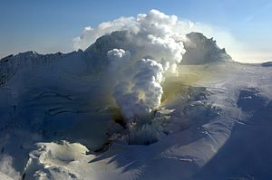 Fourpeaked Mountain - Fourpeaked Mountain with active fumaroles and sulfur deposits on February 22, 2007
