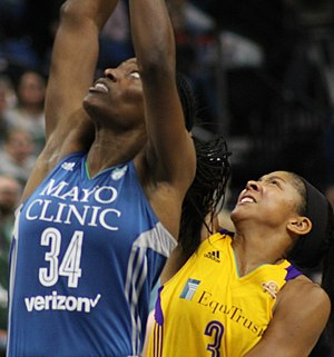 2016 WNBA Finals - Sylvia Fowles of the Lynx (left) and finals MVP Candace Parker of the Sparks in Game 2