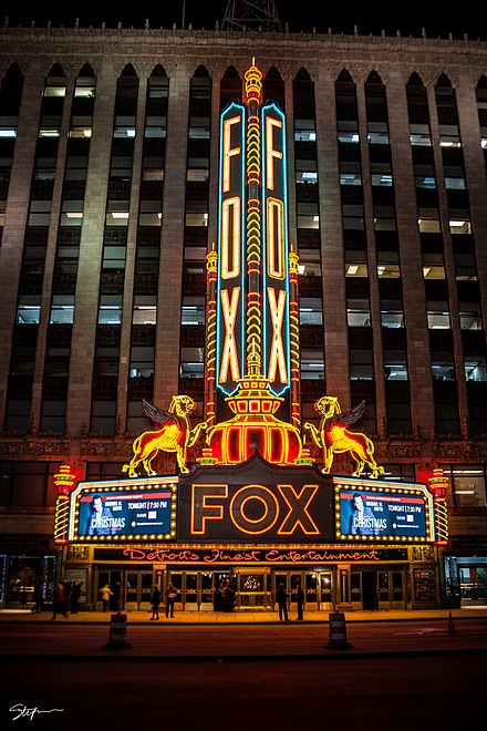 Fox Theatre at night with new LED lights in Downtown Detroit Fox Theatre at Night.jpg